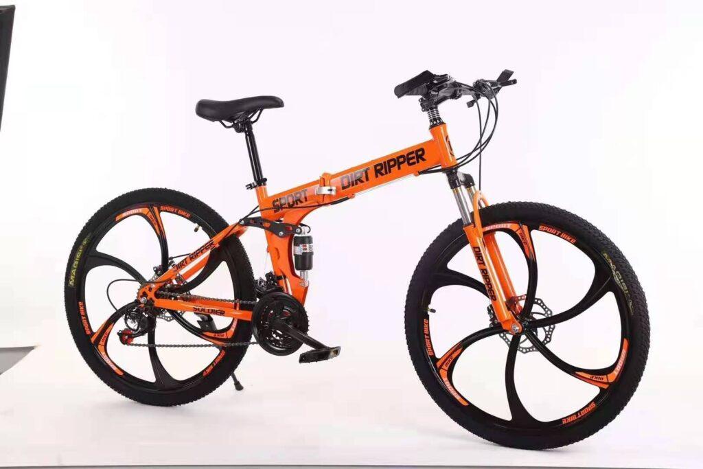 Carbon Steel 26'' Foldable Bike With 21 Speeds (Orange)