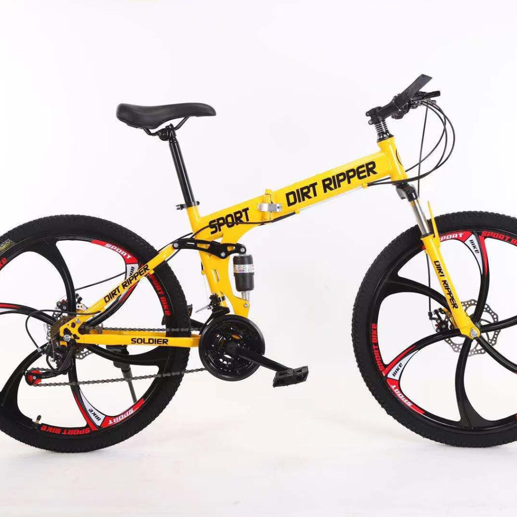 Carbon Steel 26'' Foldable Bike With 21 Speeds (Yellow)