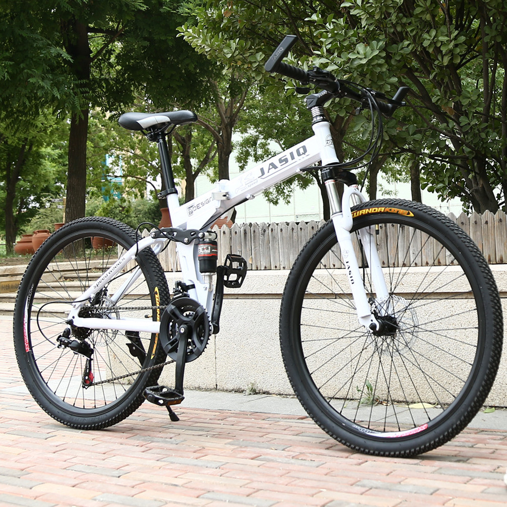 Carbon Steel 26'' Foldable Bike With 21 Speeds (White)